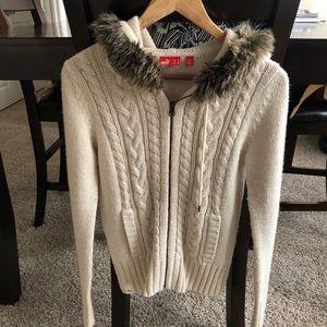 Puma XS Beige Wool Cardigan with Fur Brand New 🐇